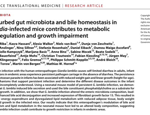 """""""Disturbed bile homeostasis and microbiota composition by intestinal protozoan infection causing metabolic dysregulation and growth impairment"""""""